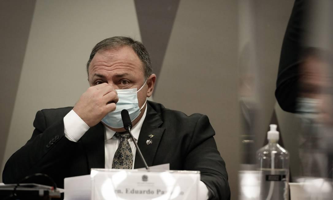 O ex-ministro da Saúde General Eduardo Pazuello em depoimento à CPI da Covid Foto: Pablo Jacob / Agência O Globo