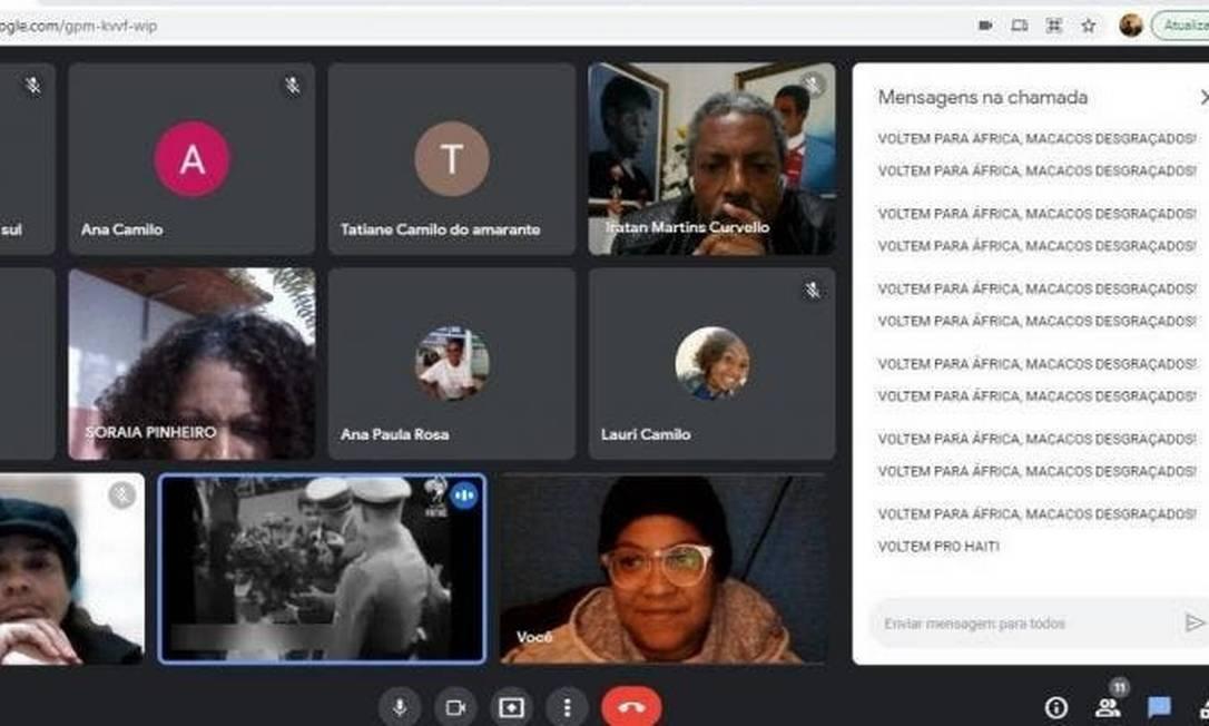 Invasor de videoconferência fez ataques racistas Foto: Reprodução