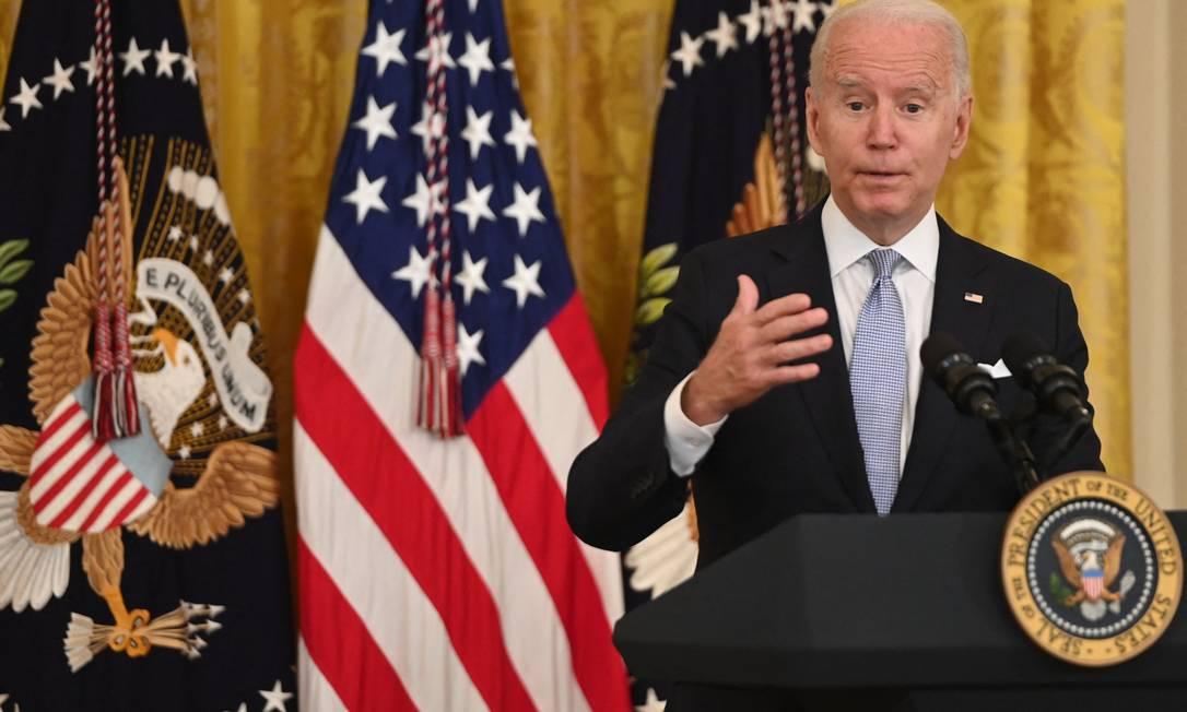 Presidente americano, Joe Biden, durante discurso em que anunciou ordem para vacinação de todos funcionários do governo federal Foto: SAUL LOEB / AFP
