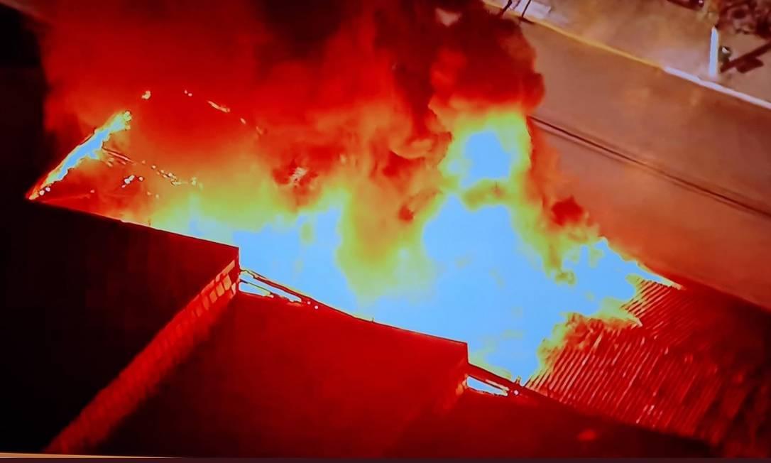 Incêndio na Cinemateca Brasileira, em São Paulo Foto: Reprodução Twitter/@CarlosPiazza