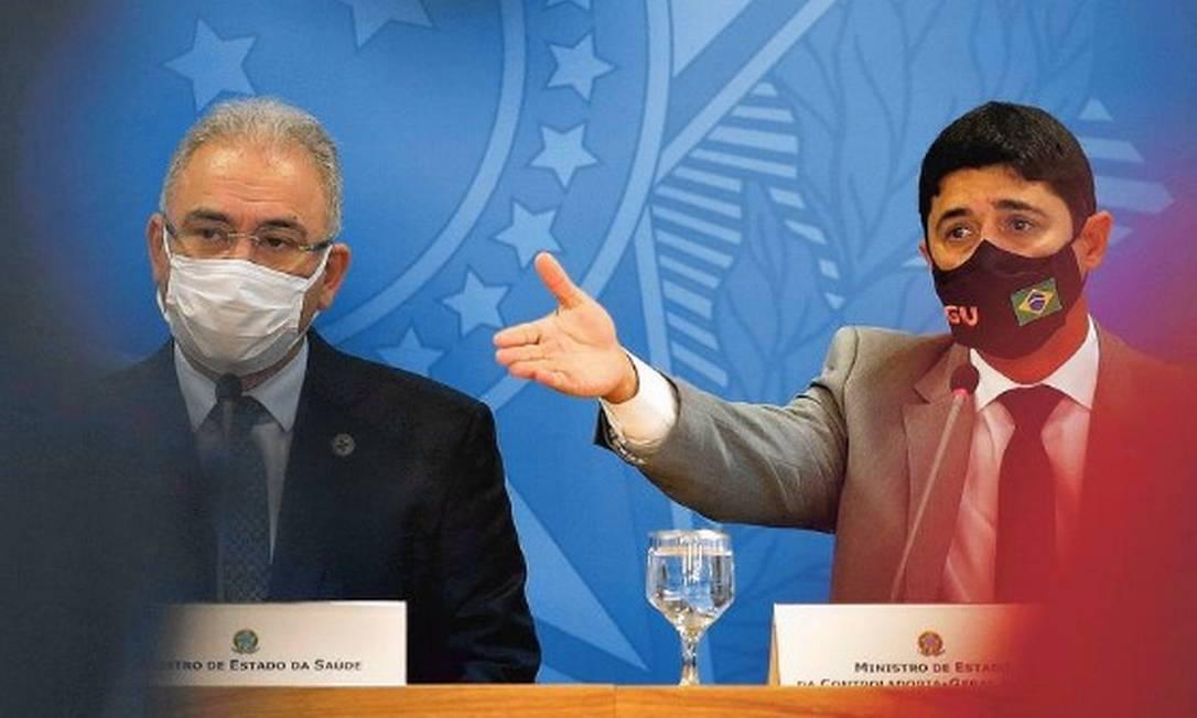 Os Ministros da Saúde Marcelo Queiroga e da CGU Wagner Rosário Foto: Cristiano Mariz/Agência OGlobo.