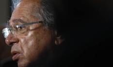 O ministro da Economia, Paulo Guedes, em evento no Rio, disse que o IBGE 'ainda está na idade da pedra lascada', ao ser questionado sobre os números da instituição sobre o desemprego no país Foto: Luiza Moraes / Agência O Globo