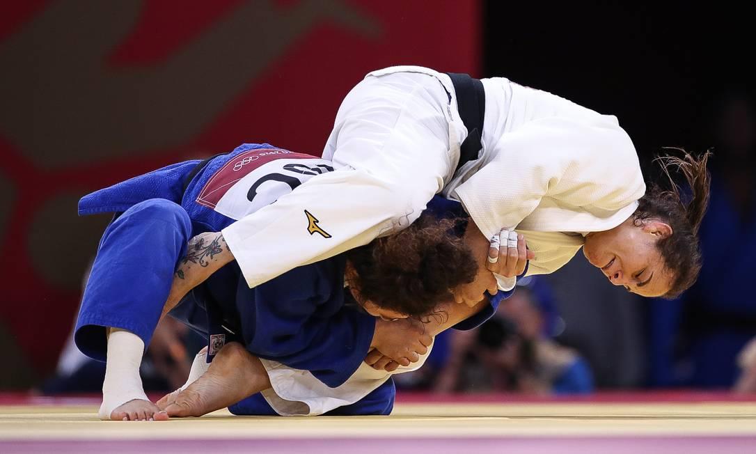 A atleta Maria Portela, que foi eliminada no judô (categoria até 70kg) contra a russa Medina Taimazova após uma decisão polêmica da arbitragem Foto: Gaspar Nóbrega / COB