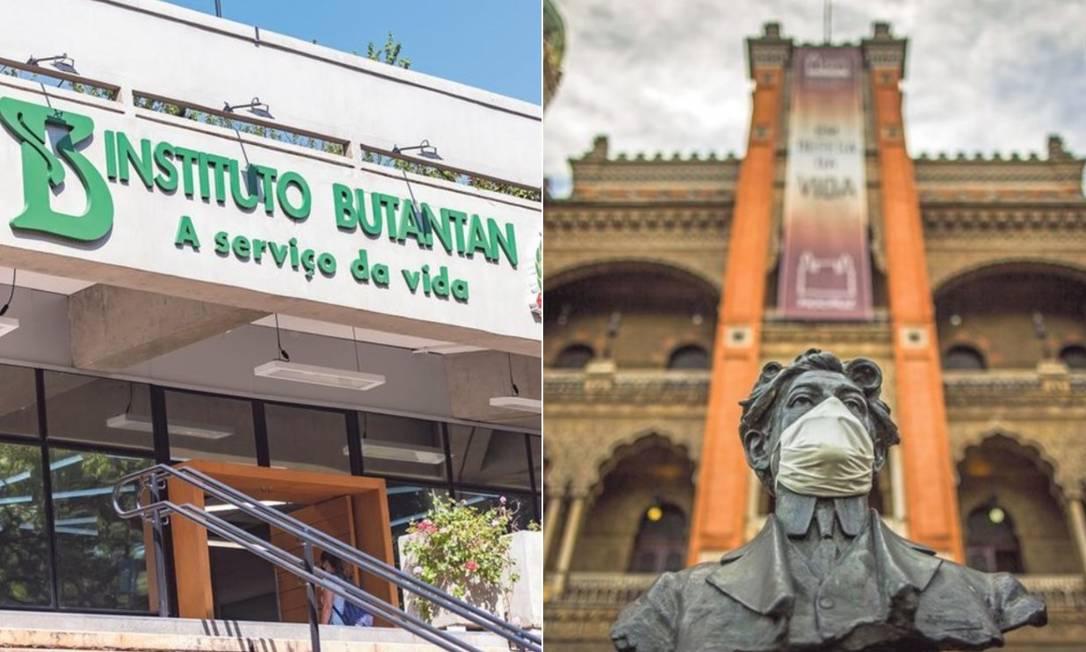 Fachada do Instituto Butantan e da Fiocruz Foto: Montagem sobre fotos de Antonio Molina e Guito Moreto