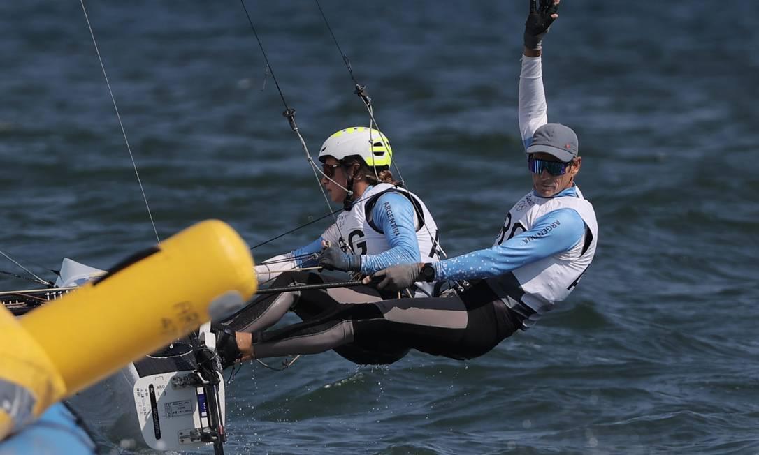 Santiago Lange y Cecilia Carranza na Nacra clase 17 Foto: CARLOS BARRIA / REUTERS