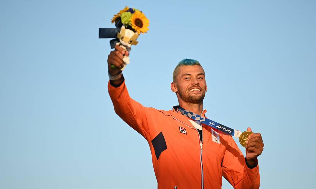 Kiran Badloe: Favorito, el holandés de 26 años se llevó el oro en RS: X Foto: PETER PARKS / AFP