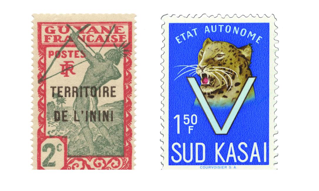 Selo de Inini, à esquerda,(1931-1946), país com território duas vezes maior do que a Bélgica, tinha apenas três mil habitantes; à direita, selo do Kasai do Sul (1960-1962), que, após disputas por seus minerais, foi reincorporado à República do Congo Foto: Reprodução