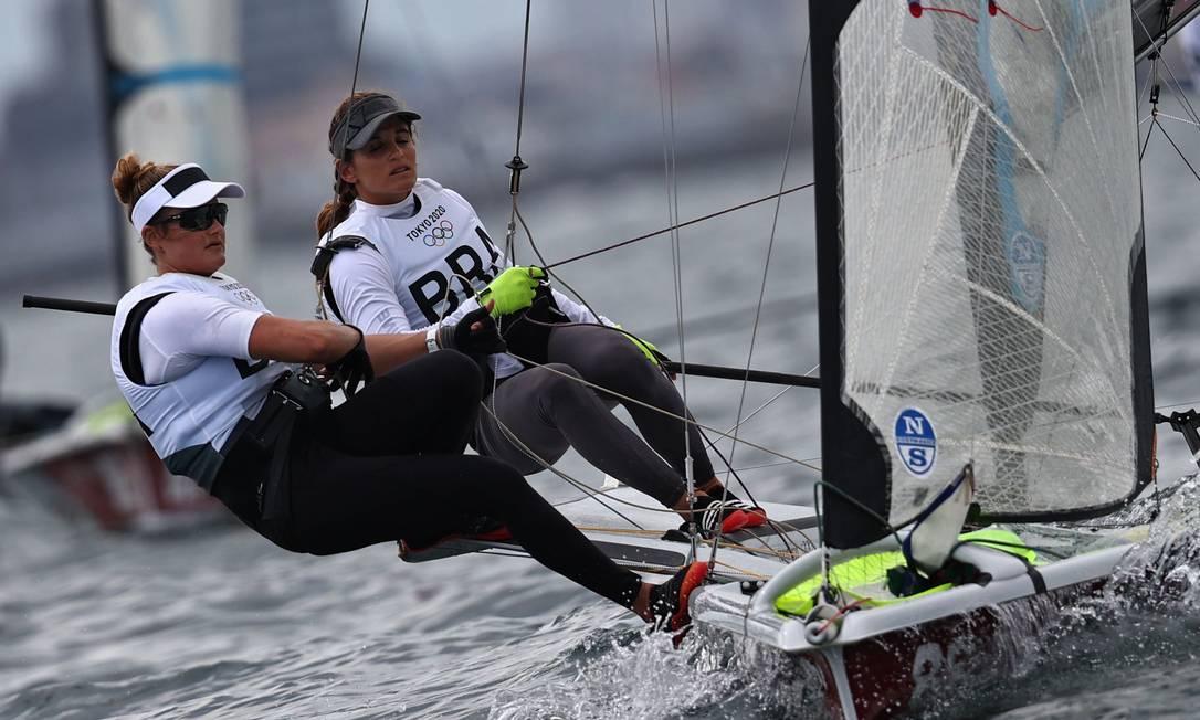 Martine e Kahena disputam a medal race na madrugada desta terça-feira (Brasília) Foto: CARLOS BARRIA / REUTERS