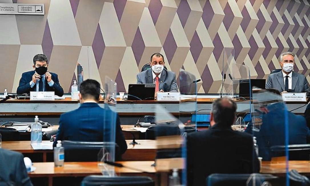 """Sessão da CPI da Covid no Senado: comissão volta aos trabalhos em meio a divergências do chamado """"G7"""" Foto: Agência O Globo"""