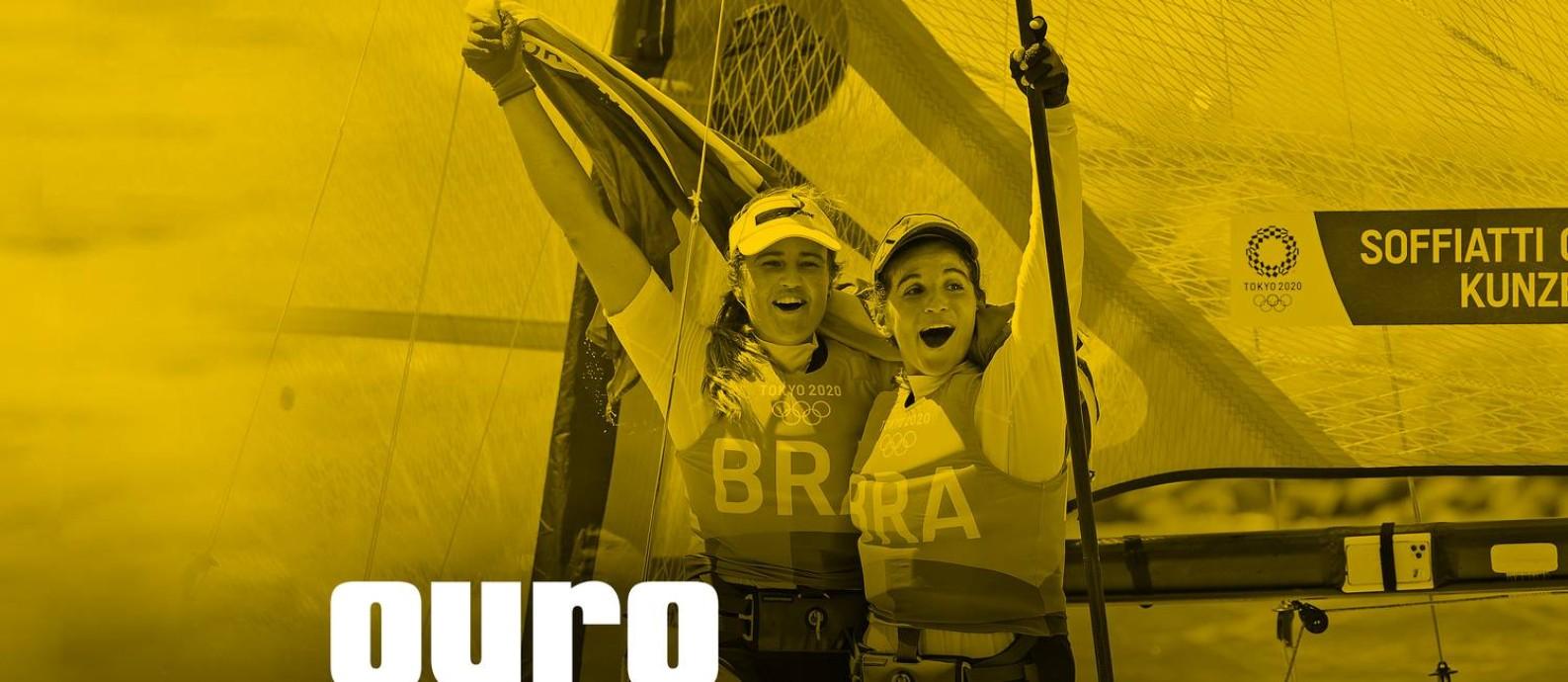 Martine Grael e Kahena Kunze ganham ouro em Tóquio. Foto: Editoria de arte/ Foto: Carlos BARRIA/REUTERS