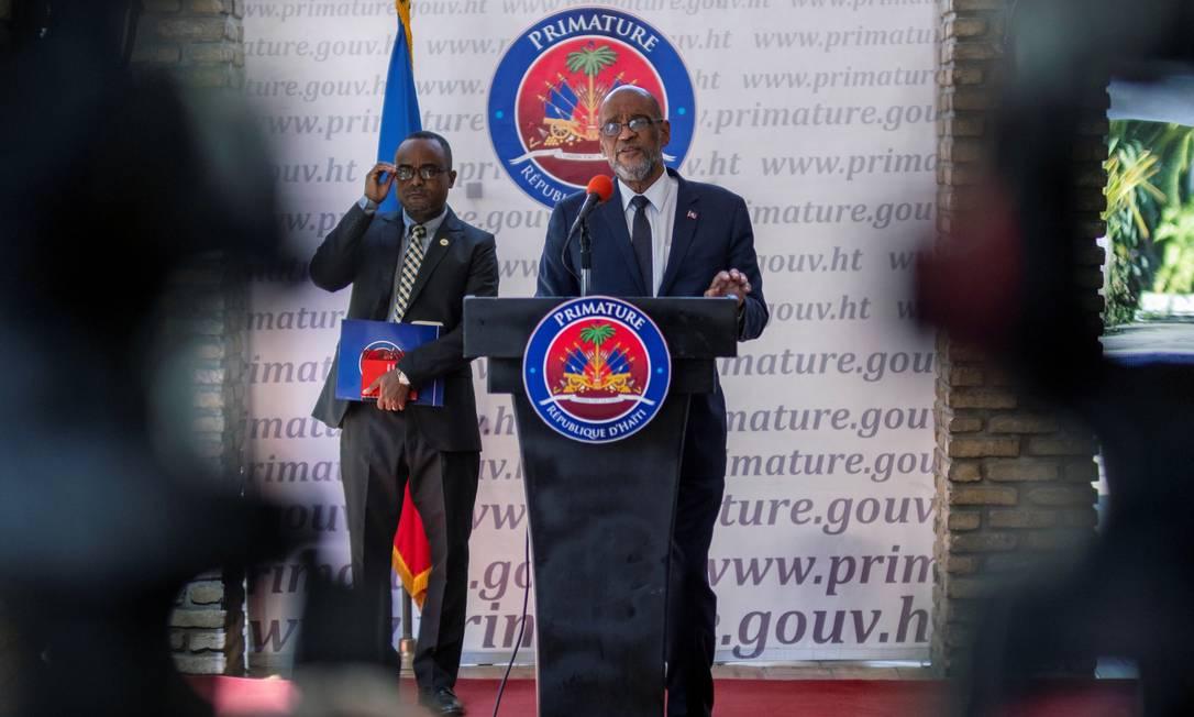 O primeiro-ministro do Haiti, Ariel Henry, durante uma conferência no fim de julho Foto: RICARDO ARDUENGO / REUTERS