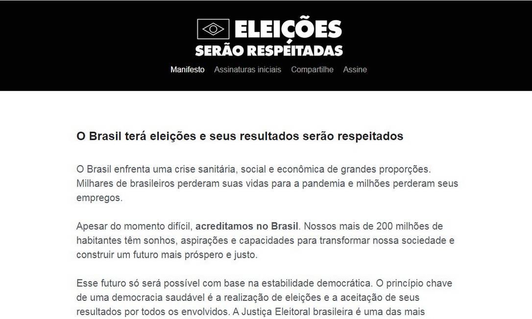 Site do manifesto 'Eleições serão respeitadas' Foto: Reprodução