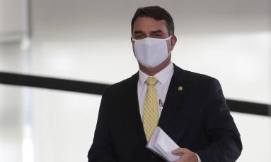 O senador Flávio Bolsonaro, durante evento no Palácio do Planalto em 04/08/2021 Foto: .