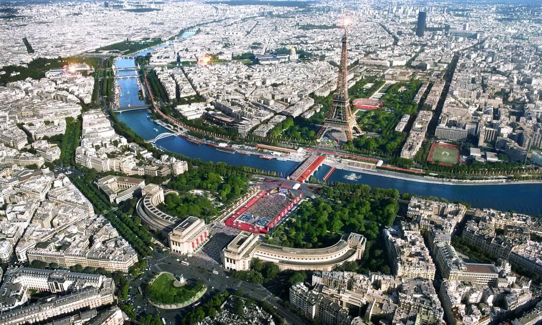 Paris-2024 terá competições espalhadas por cartões-postais da capital francesa Foto: Divulgação