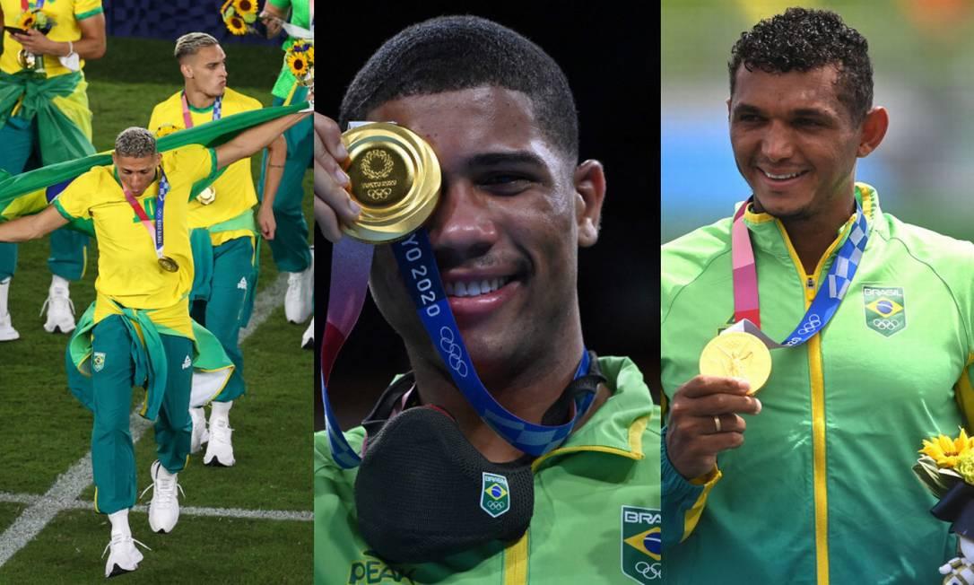 Os ouros do Brasil neste sábado: futebol, boxe e canogaem Foto: Montagem