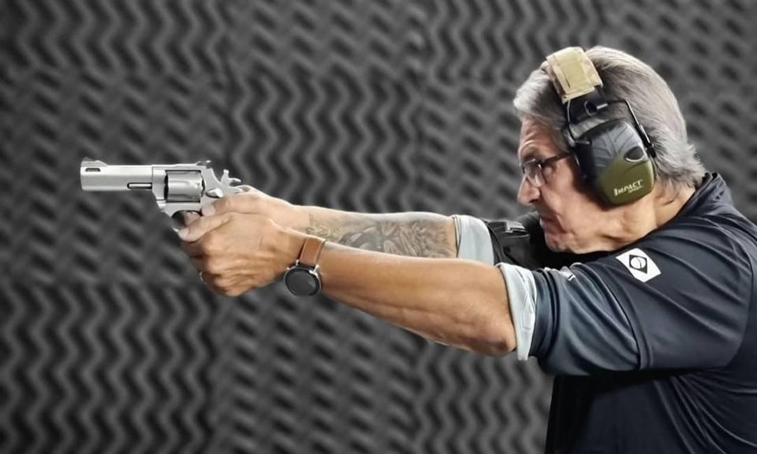 Roberto Jefferson com arma de fogo: político aproxima partido de posições de Bolsonaro, incluindo ataques ao Supremo Foto: Reprodução