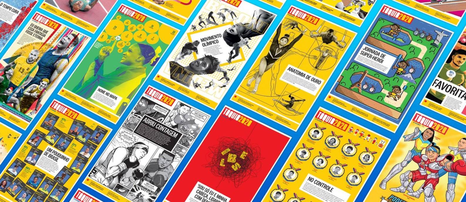Capas dos cadernos olímpicos do GLOBO Foto: Editoria de arte