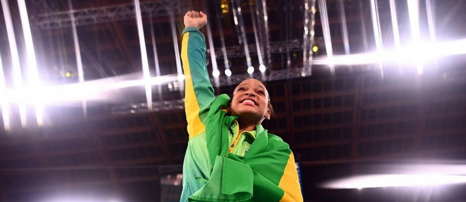 Rebeca Andrade: duas medalhas olímpicas em Tóquio Foto: Loic Venance/AFP