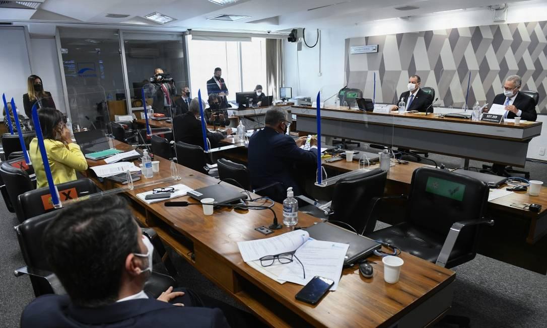 CPI da Covid, no Senado, investiga suspeita em contratos da Covaxin Foto: Marcos Oliveira / Agência O Globo