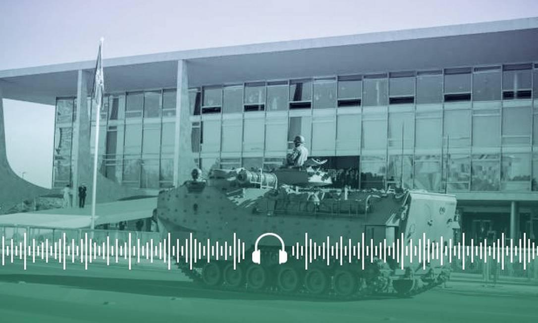 Esplanada dos Ministérios recebeu veículos militares, como tanques de guerra e carros com armamentos Foto: Arte