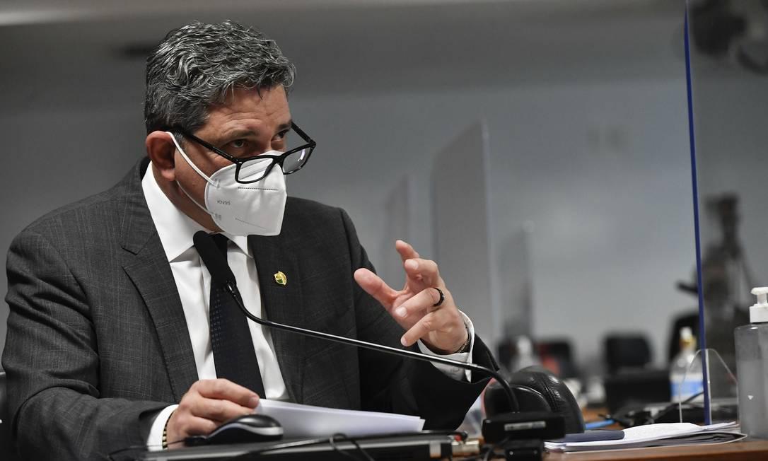 O senador Rogério Carvalho (PT-SE), durante sessão da CPI da Covid Foto: Leopoldo Silva/Agência Senado