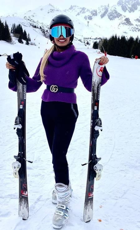 Laís esquia nos Alpes Franceses Foto: Reprodução