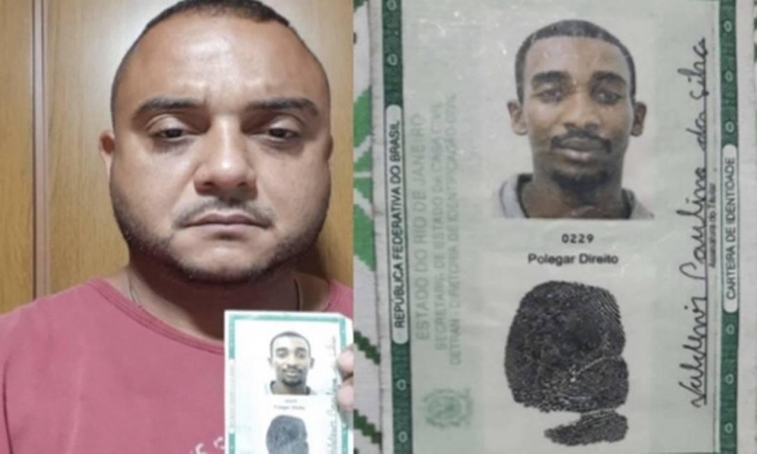 O taxista Fábio Soares, que foi indiciado pela Polícia Civil, em foto com documentos falsos enviada a operadora de maquininhas Foto: Reprodução