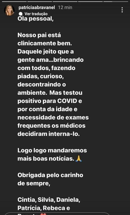 Patrícia Abravanel confirma que pai, Silvio Santos, está internado com Covid em São Paulo Foto: Reprodução/Instagram