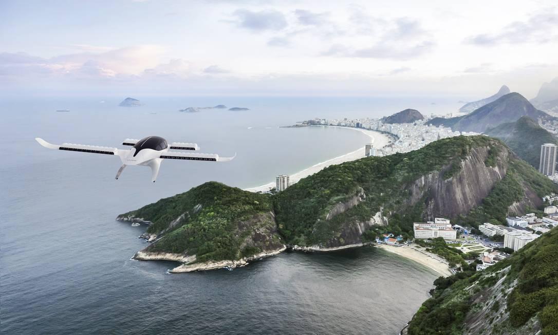 Simulação de voo do modelo de eVTOL da alemã Lilium, que a Azul quer trazer ao Brasil a partir de 2025 para trajetos curtos, como Rio-Búzios ou São Paulo-Guarujá Foto: Reprodução / Divulgação