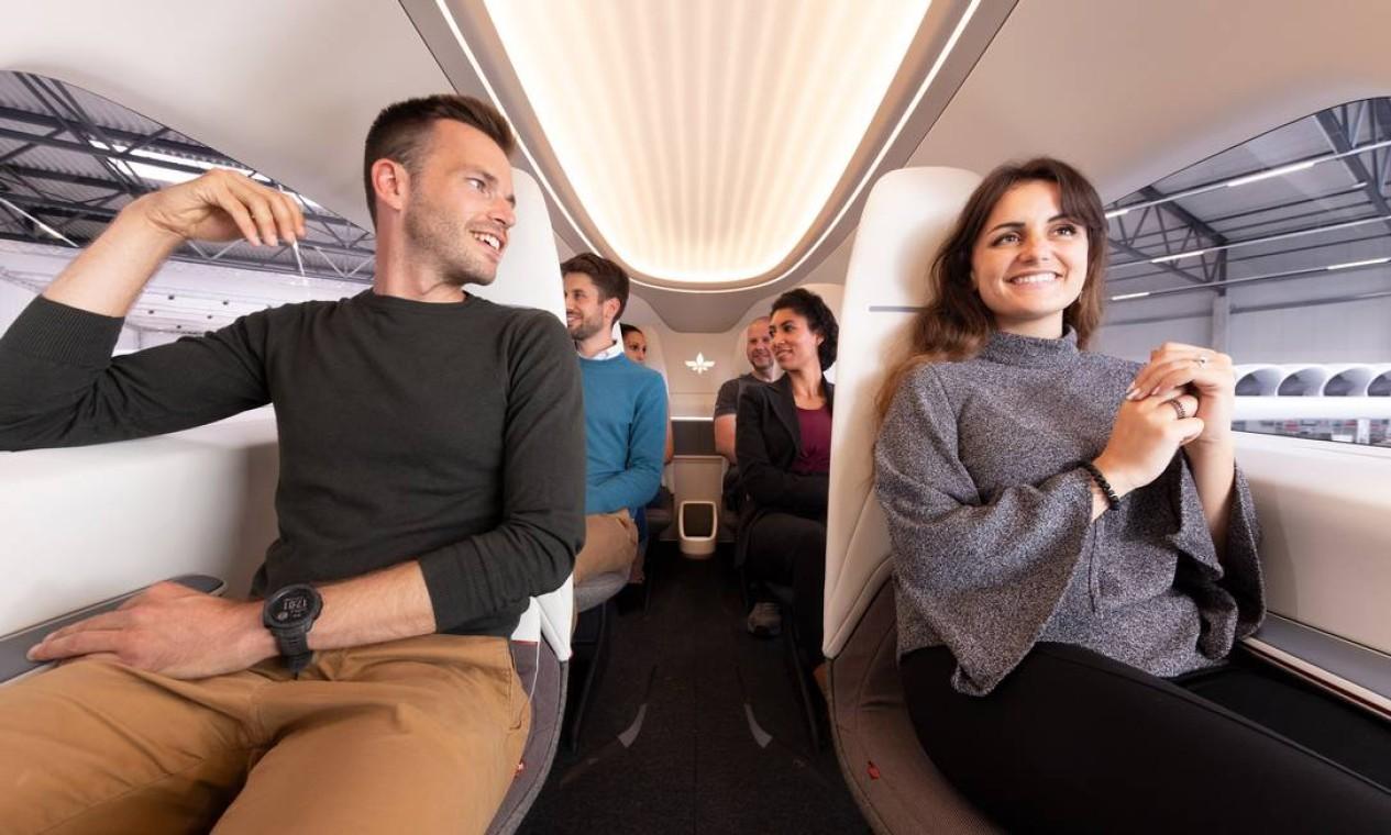 O interior do Lilium parece confortável e parece uma mistura de avião com automóvel: cabem seis passageiros e um piloto. E há ainda um compartimento para bagagens a bordo Foto: Reprodução / Divulgação
