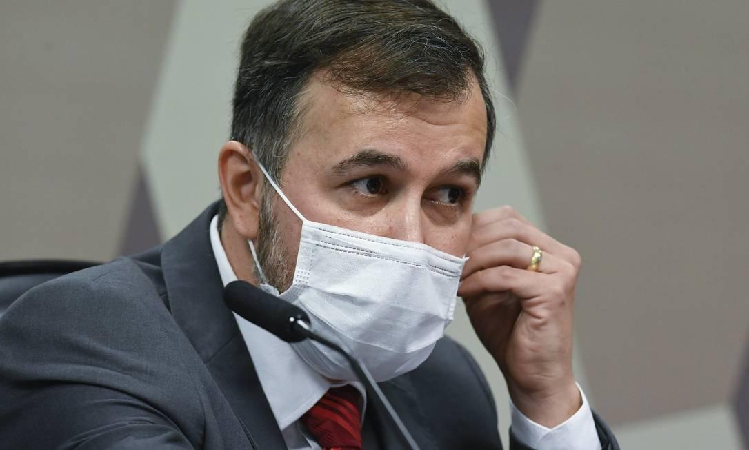 Alexandre Marques, auditor do TCU afastado, presta depoimento à CPI da Covid, no Senado Foto: Jefferson Rudy / Agência Senado