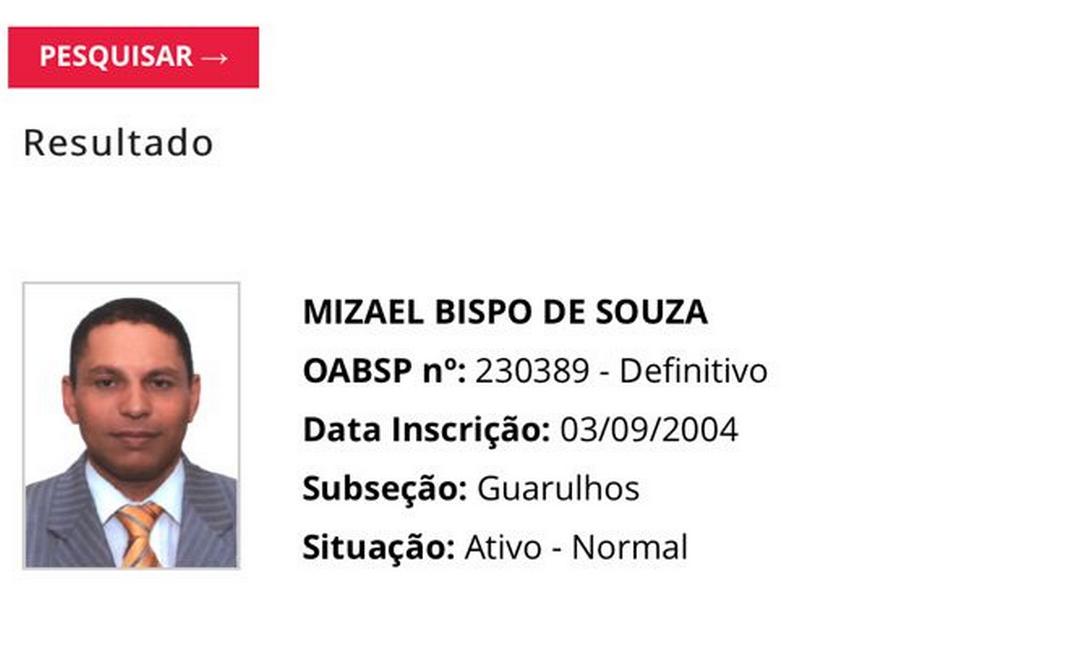 Oito anos após ser condenado pela morte da ex-namorada, Mizael Bispo continua com o registro profissional ativo Foto: Reprodução