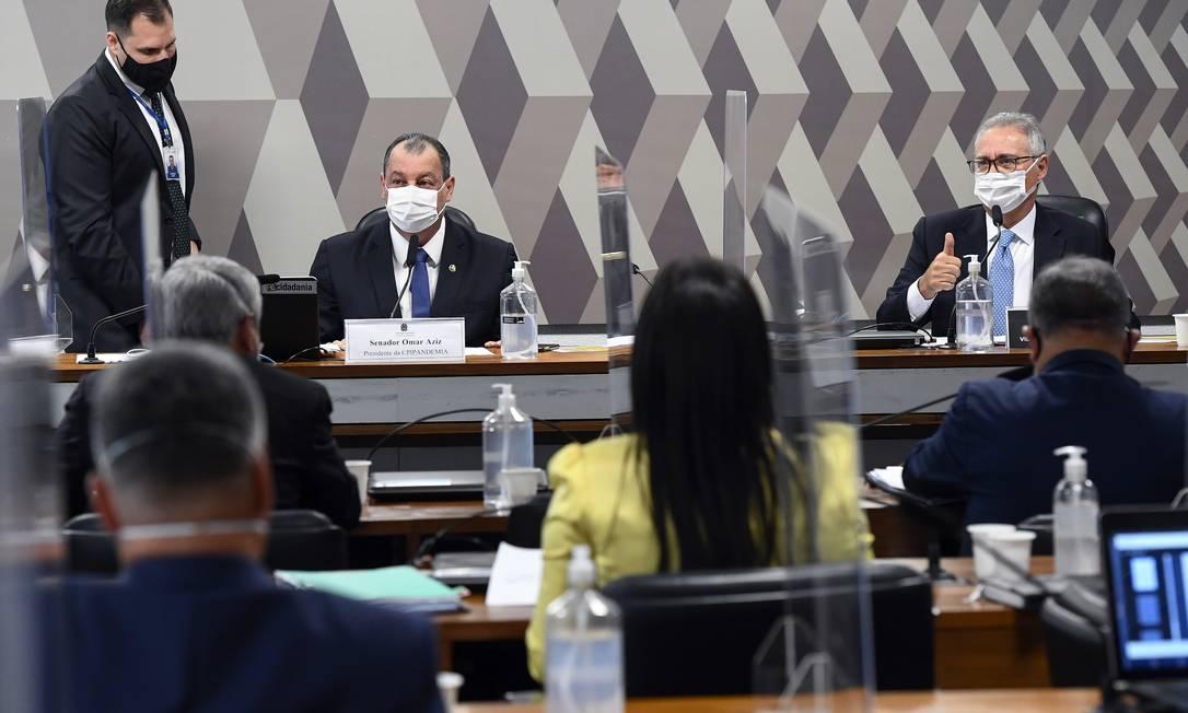 Membros da CPI da Covid, no Senado Foto: Marcos Oliveira / Agência Senado