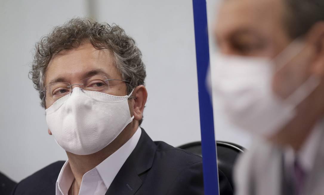 Francisco Maximiano, dono da Precisa Medicamentos, depõe na CPI da Covid, no Senado Foto: Cristiano Mariz / Agência O Globo