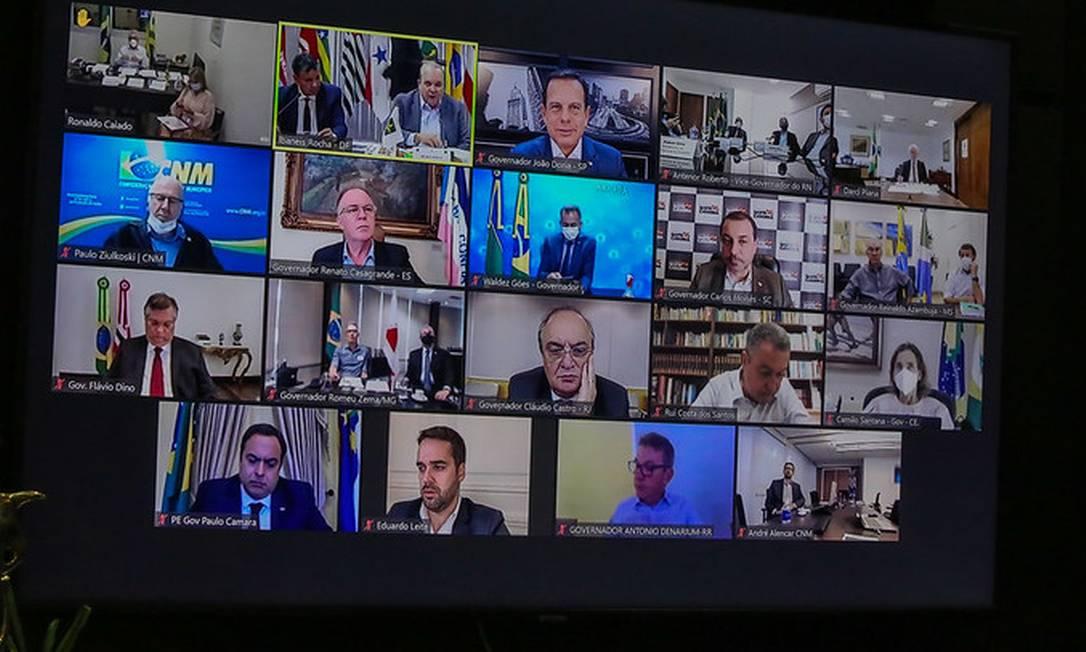 Por videoconferência, governadores se reúnem e discutem clima de instabilidade política no país Foto: Sergio Andrade / Divulgação