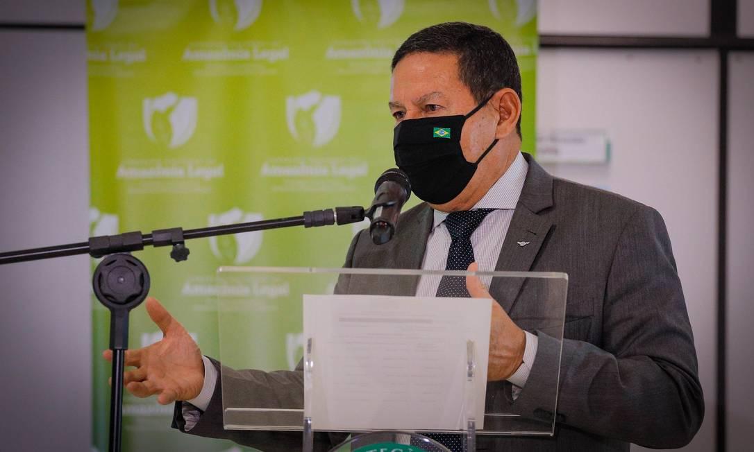 O vice-presidente Hamilton Mourão, durante entrevista coletiva Foto: Romério Cunha/Vice-Presidência/24-08-2021