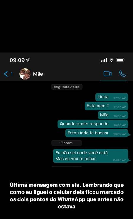 Últimas mensagens trocadas entre Guilherme Brito e a mãe Cristiane Nogueira Foto: Reprodução