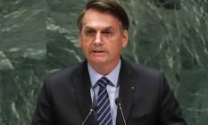 O presidente Jair Bolsonaro participa da Assembleia-Geral da ONU em 2019 Foto: Lucas Jackson/Reuters/24-09-2019