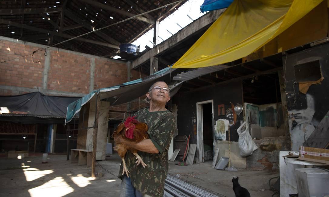 Erotildes dos Santos cria galinhas e mantém horta num galpão da União na Avenida Brasil, onde mora Foto: Márcia Foletto / Agência O Globo