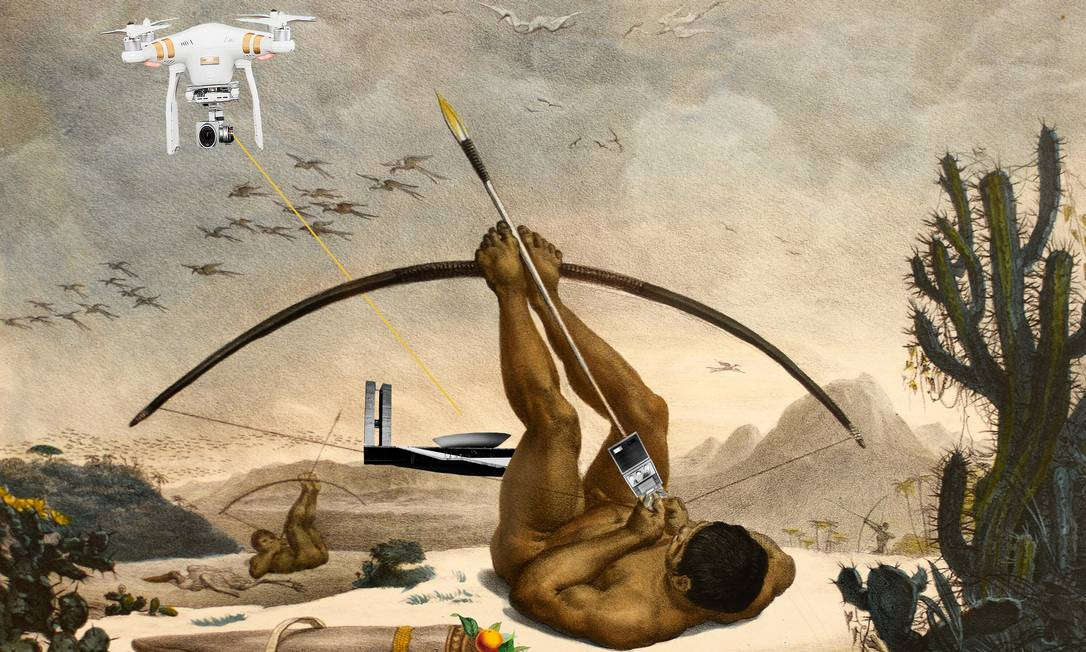 'Atualizações traumáticas de Debret', colagem digital da artista Gê Viana, presente na mostra do CCBB Foto: Divulgação