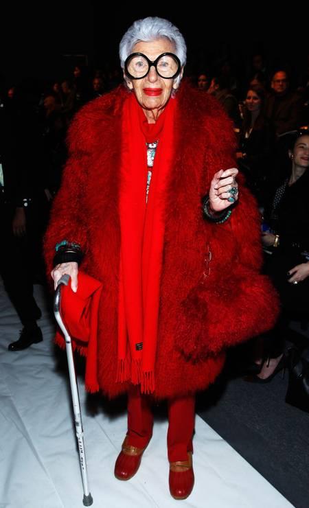 O look vermelho, usado na semana de moda Nova York, em 2013, é inesquecível Foto: Joe Kohen / Getty Images