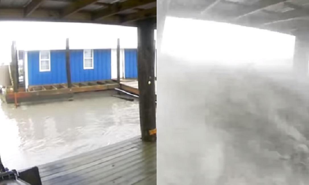 Jeremy DiBenedetto compartilhou no Facebook a destruição na região de Port Fourchon, naLouisiana, nos Estados Unidos. Em poucas horas, galpão sumiu em mei oa tempestada Foto: Reprodução/Facebook/ Jeremy DiBenedetto