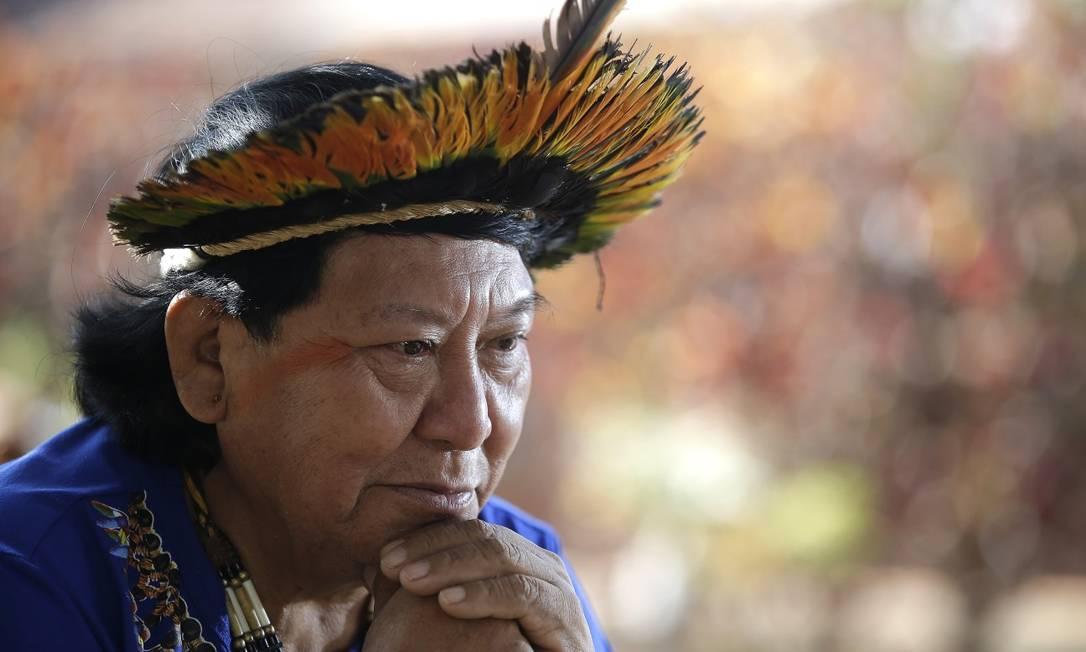 Davi Kopenawa está preocupado com o futuro da Amazônia Foto: Cristiano Mariz/O Globo / Agência O Globo