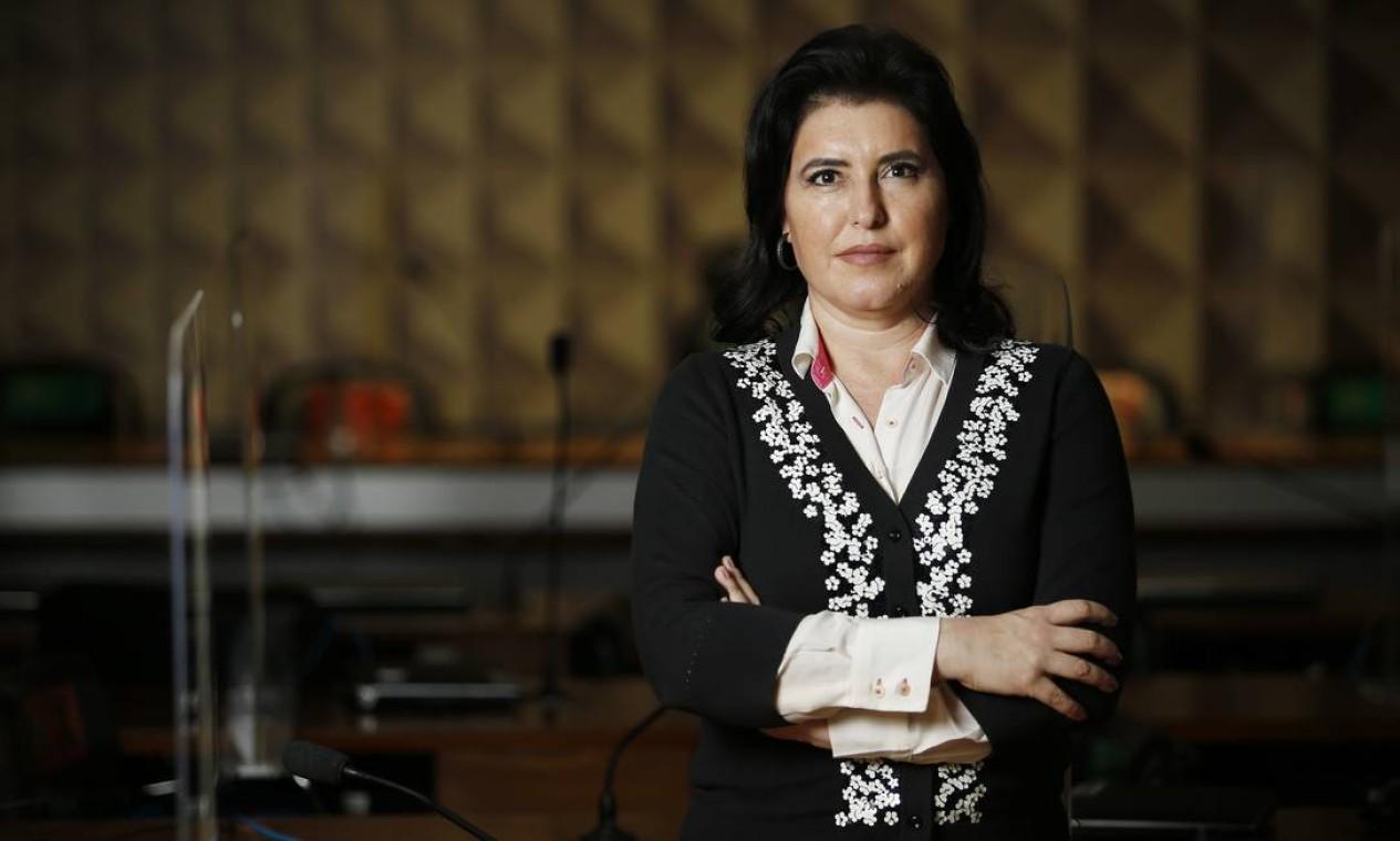 O MDB estuda lançar a candidatura de Simone Tebet, após a senadora chamar atenção na CPI da Covid Foto: Cristiano Mariz / Agência O Globo 26/06/2021
