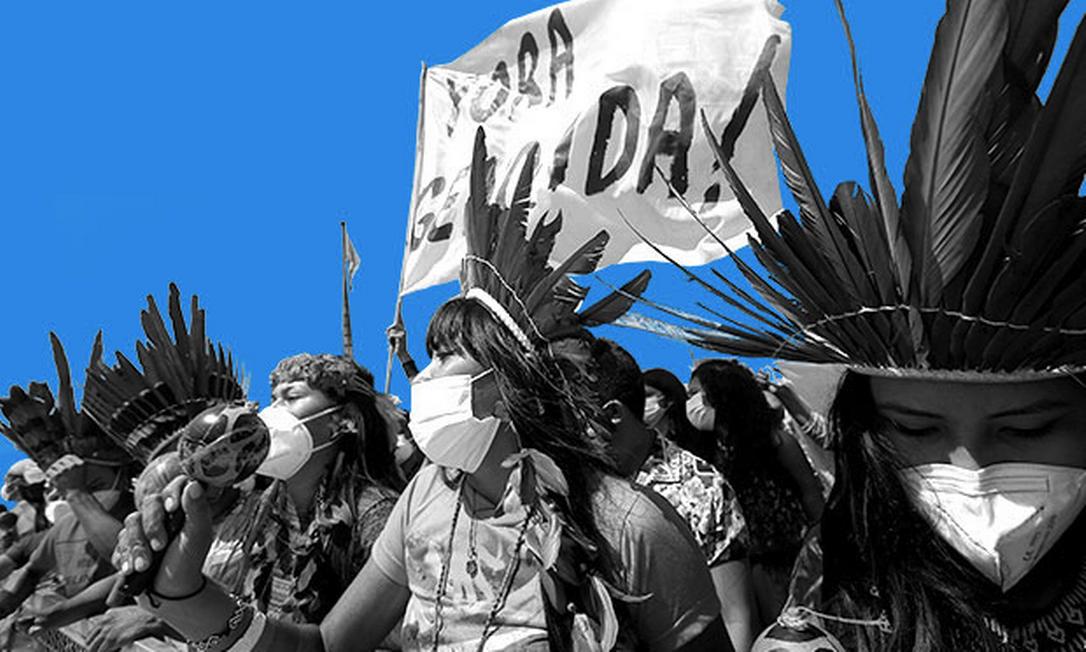 Povos indígenas protestam em Brasília contra aprovação da tese do Marco Temporal Foto: Montagem / com foto de Cristiano Mariz / Agência O GLOBO