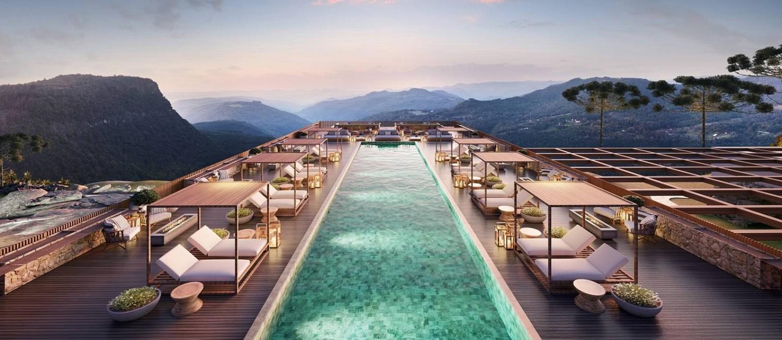 Imagem mostra como será uma das piscinas do futuro Kempinski Laje de Pedra, que deve ser inaugurado em 2024, em Canela, na Serra Gaúcha Foto: Perkins&Will / Divulgação