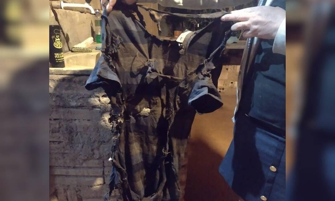 Camisa de Israel Rosa após explosão com álcool, em Anápolis Foto: Arquivo Pessoal/Benta Correa