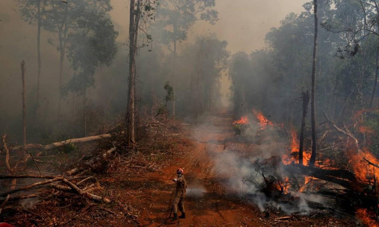 Fogo na floresta: 690 mil km² da área do bioma do Brasil se incendiou ao menos uma vez em 35 anos Foto: AMANDA PEROBELLI/REUTERS / Reuters