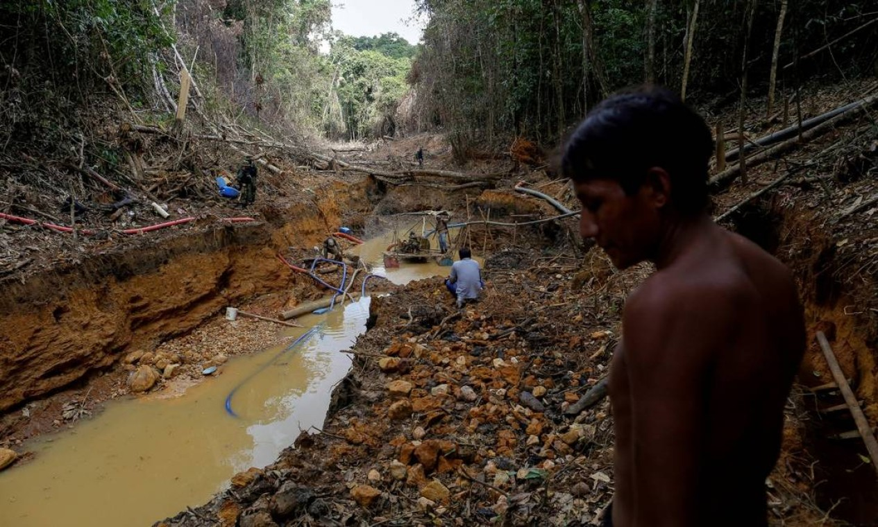 Indígena observa ação de garimpeiros na floresta. Povos lutam pela demarcação e fiscalização de suas terras Foto: Bruno Kelly / REUTERS