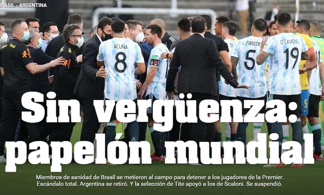 Site do jornal argentino Olé: 'Sem vergonha: papelão mundial' Foto: Reprodução